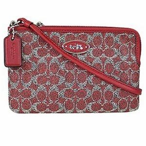 NWT Coach Zip Wristlet in Signature Coated Canvas